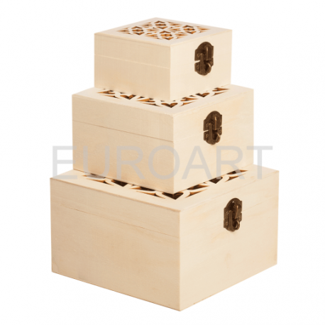Cutii lemn 3/set patrate perforate
