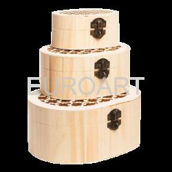 Cutii lemn 3/set ovale perforate
