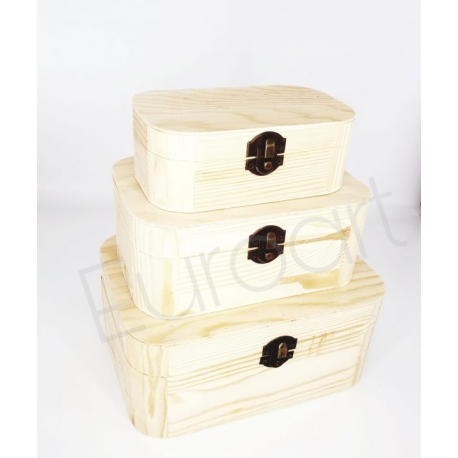Cutii lemn 3/set ovale