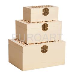 Cutii lemn 3/set dreptunghiulara