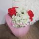 Aranjament Floral Hortensii si Trandafiri din Sapun in Vas Venus roz