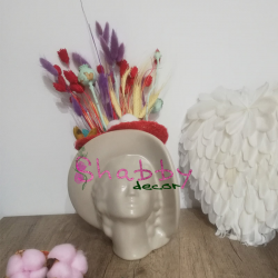 Aranjament Floral in Vas Venus Femeie cu Palarie - Flori Uscate