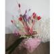 Aranjament Floral in Vas Venus roz Femeie - Flori Uscate si Perle