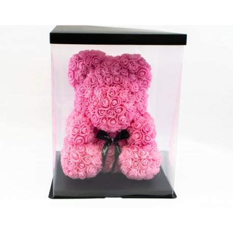 Ursulet din trandafiri roz 35 cm in cutie cadou