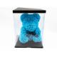 Ursulet din trandafiri albastri 35 cm in cutie cadou