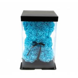 Ursulet din trandafiri bleu 25 cm in cutie cadou
