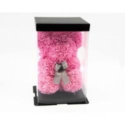 Ursulet din trandafiri roz 25 cm in cutie cadou