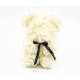 Ursulet din trandafiri crem 25 cm in cutie cadou