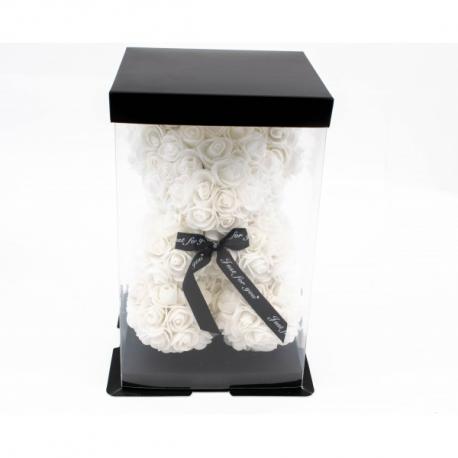 Ursulet din trandafiri albi 25 cm in cutie cadou