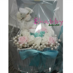 Aranjament Trandafiri Sapun Mamica Bun Venit + ingeras cadou