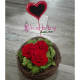 Aranjament cadou din trandafiri rosii criogenati
