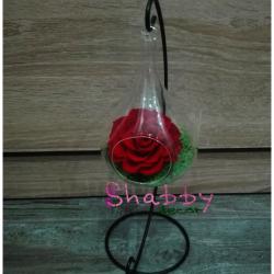 Trandafir criogenat rosu in glob de sticla si suport