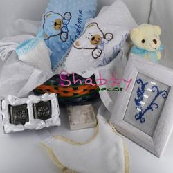 Cos cadou nou nascut personalizat Ursulet bleu