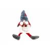 Figurina Brad Fetita Gnom cu Caciulita gri - Decor Craciun