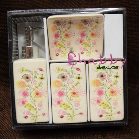 Set ceramic Baie cu model floral color