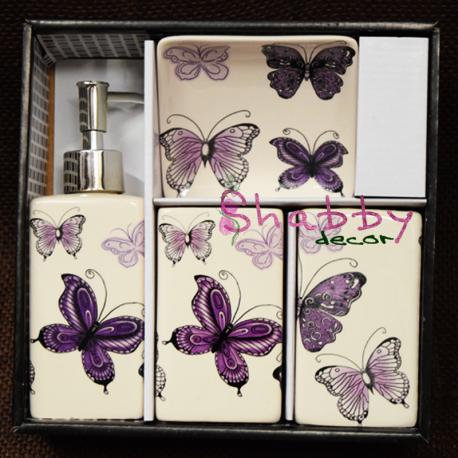Set ceramic Baie cu fluturi colorati mov-violet