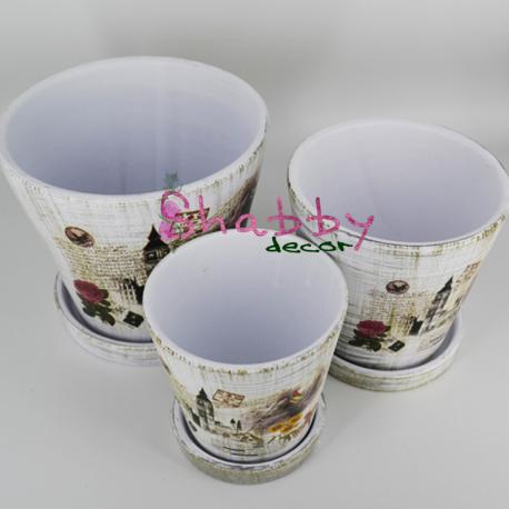 Set 3 Suporti din ceramica vintage
