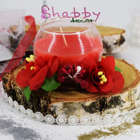 Lumanare decor eleganta cu coronita din flori artificiale