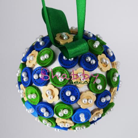Glob de brad Verde-Albastru cu Nasturi si Perle