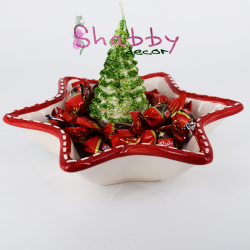 Set Platou Craciun Ceramica cu Lumanare decor