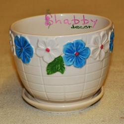 Ghiveci ceramica cu Flori albe si albastre