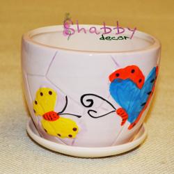 Ghiveci ceramica cu Fluturi Decor