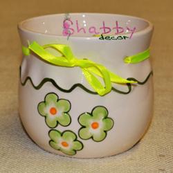 Vas Ceramica cu flori si fundita galbena